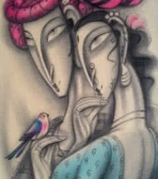 Couple with Red Turban   Painting by artist Ramesh Pachpande   dry-pastel   Paper