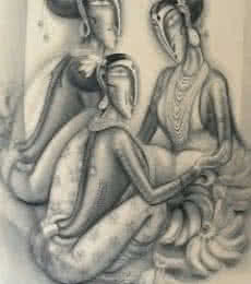 Three Women | Painting by artist Ramesh Pachpande | charcoal | Paper
