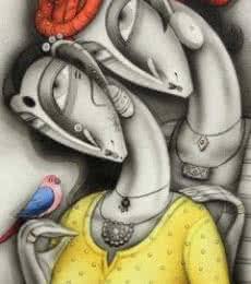 Figurative Mixed-media Art Painting title Couple with Orange Turban by artist Ramesh Pachpande