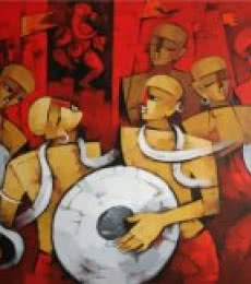 Figurative Acrylic Art Painting title Bhakti Rang by artist Deepa Vedpathak