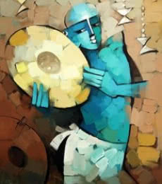 Drummer | Painting by artist Deepa Vedpathak | acrylic | Canvas