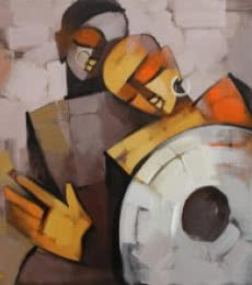 Figurative Acrylic Art Painting title Drummer 73 by artist Deepa Vedpathak