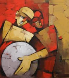 Figurative Acrylic Art Painting title 'Drummer 75' by artist Deepa Vedpathak