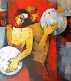 Figurative Acrylic Art Painting title 'Drummer Couple' by artist Deepa Vedpathak