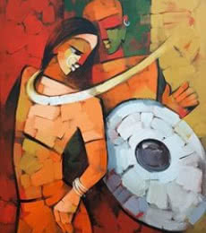 Figurative Acrylic Art Painting title 'Immersed 3' by artist Deepa Vedpathak
