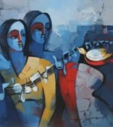 Figurative Acrylic Art Painting title Sakhi by artist Deepa Vedpathak