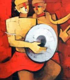 Figurative Acrylic Art Painting title 'The Drummer 1' by artist Deepa Vedpathak