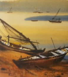 Nature Watercolor Art Painting title 'Boat 35' by artist Ganesh Hire