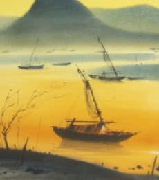 Nature Watercolor Art Painting title Boat 21 by artist Ganesh Hire