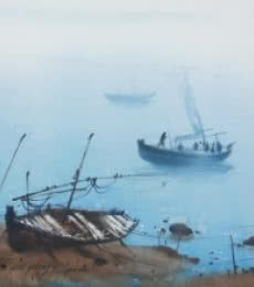 Nature Watercolor Art Painting title Boat 25 by artist Ganesh Hire