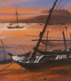 Nature Watercolor Art Painting title Boat 18 by artist Ganesh Hire