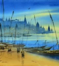 Nature Watercolor Art Painting title Banaras Ganga Ghat 11 by artist Ganesh Hire