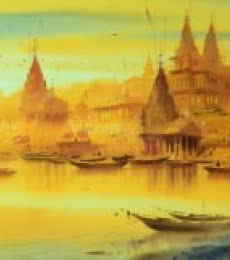 Banaras Ghat | Painting by artist Ganesh Hire | watercolor | Paper