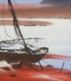 Nature Watercolor Art Painting title 'Boat On Sea Shore' by artist Ganesh Hire