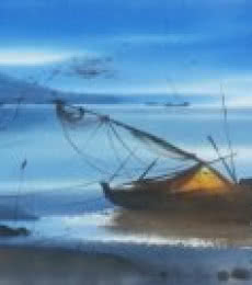Nature Watercolor Art Painting title 'Beach Boat & Water' by artist Ganesh Hire