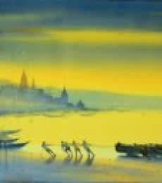 Ganesh Hire | Watercolor Painting title Banks of Banaras Ganga on Paper | Artist Ganesh Hire Gallery | ArtZolo.com