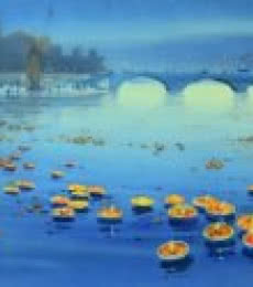 Nature Watercolor Art Painting title Floating Lamps in Banaras Ganga by artist Ganesh Hire
