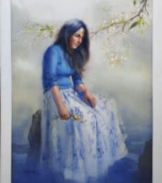 Figurative Oil Art Painting title 'In Deep Thoughts 1' by artist Ganesh Hire