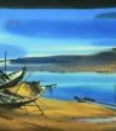 Nature Watercolor Art Painting title Boat On The Sea Shore 2 by artist Ganesh Hire