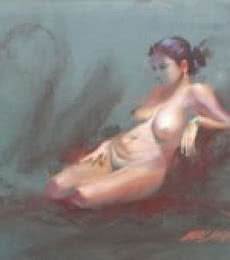 Nude Dry-pastel Art Painting title 'Dry Pastel' by artist Ganesh Hire