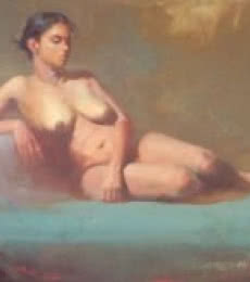 Ganesh Hire | Oil Painting title Sitted Nude on Canvas | Artist Ganesh Hire Gallery | ArtZolo.com