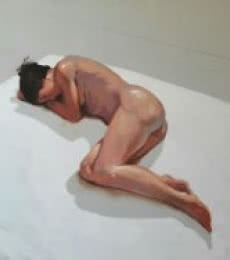 Ganesh Hire | Acrylic Painting title Sleeping Nude III on Canvas | Artist Ganesh Hire Gallery | ArtZolo.com