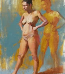 Ganesh Hire | Oil Painting title Standing Nude on Canvas | Artist Ganesh Hire Gallery | ArtZolo.com