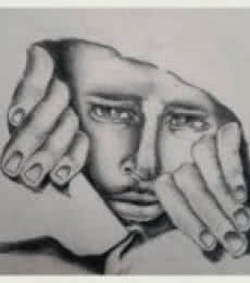 Expressionist Pencil Art Drawing title 'Never come out in brutal world' by artist Soumen Roy