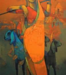 Figurative Acrylic Art Painting title Village Woman by artist Sachin Akalekar