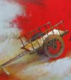 Fantasy Acrylic Art Painting title Bullockart by artist Sachin Akalekar