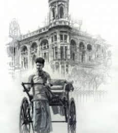 Pen Paintings | Drawing title City Of Kolkata 1 on paper | Artist Amit Bhar