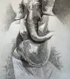 Religious Pen Art Drawing title 'Ganesha 2' by artist Amit Bhar