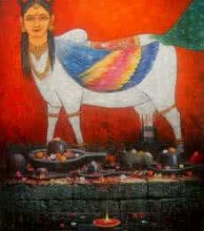 Kamdhenu   Painting by artist Paramesh Paul   acrylic   Canvas