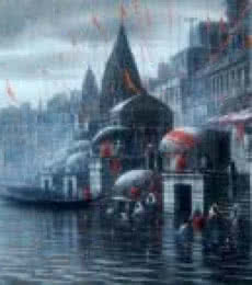 Paramesh Paul | Acrylic Painting title Banaras Ghat on Canvas | Artist Paramesh Paul Gallery | ArtZolo.com