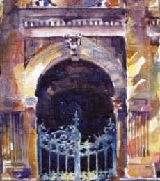 Cityscape Watercolor Art Painting title Mumbai Gate by artist Mukhtar Kazi