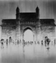 Cityscape Charcoal Art Painting title 'Gate Of India' by artist Mukhtar Kazi