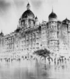 Mukhtar Kazi Paintings | Cityscape Painting - Hotel Taj by artist Mukhtar Kazi | ArtZolo.com