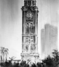 Cityscape Charcoal Art Painting title Rajabai Clock Tower by artist Mukhtar Kazi
