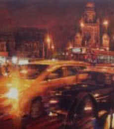 Mukhtar Kazi | Acrylic Painting title Mumbai Traffic on Canvas | Artist Mukhtar Kazi Gallery | ArtZolo.com