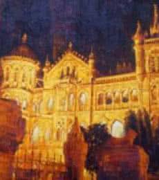 Cityscape Acrylic Art Painting title 'Golden Cst' by artist Mukhtar Kazi