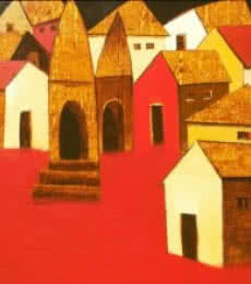 Nagesh Ghodke Paintings | Acrylic Painting - Village2 by artist Nagesh Ghodke | ArtZolo.com