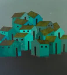 Nagesh Ghodke Paintings | Acrylic Painting - Village 3 by artist Nagesh Ghodke | ArtZolo.com