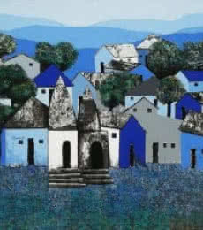 Nagesh Ghodke Paintings | Acrylic Painting - Village 4 by artist Nagesh Ghodke | ArtZolo.com