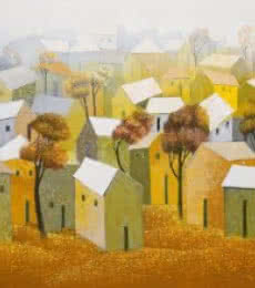 Nagesh Ghodke Paintings | Acrylic Painting - Village 5 by artist Nagesh Ghodke | ArtZolo.com