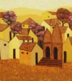 Cityscape Acrylic Art Painting title 'Village ' by artist Nagesh Ghodke