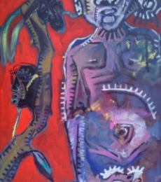 Kapil Alaskar | Run Man Run Copy Mixed media by artist Kapil Alaskar on Canvas | ArtZolo.com
