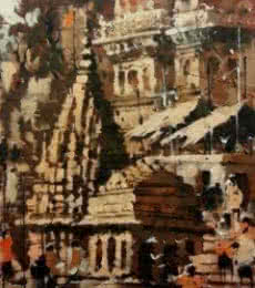 Landscape Acrylic Art Painting title 'Banaras Ghat 6' by artist Sandeep Chhatraband