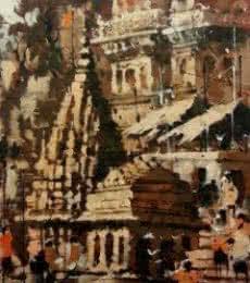 Banaras Ghat 6 | Painting by artist Sandeep Chhatraband | acrylic | Canvas