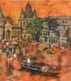Landscape Acrylic Art Painting title 'Banaras Ghat 1' by artist Sandeep Chhatraband