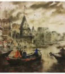 Banaras Ghat 3 | Painting by artist Sandeep Chhatraband | acrylic | Canvas